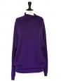 Pull oversize col roulé à boutons en cachemire de luxe violet Px boutique 850€