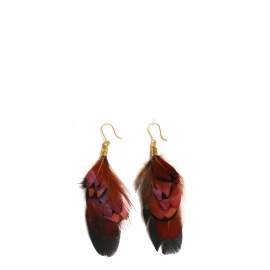 Nut brown, black and iridescent dark green pheasant and cockerel feathers pierced earrings