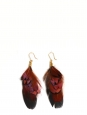 Boucles d'oreilles en plumes de faisan et coq gaulois noir, roux, marron noisette et reflets vert foncé