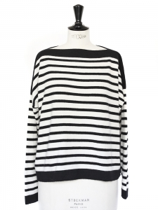 Black and white striped cashmere boat neck sweater Retail price €310 Size 36