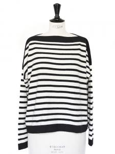 Pull col bateau en cachemire de luxe rayé noir et blanc Px boutique 310€ Taille 36