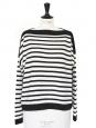 Pull col bateau en cachemire de luxe rayé noir et blanc Px boutique 310€ Taille 36 à 38