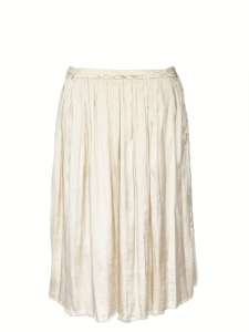 Champagne beige silk satin midi length low waist skirt Retail price €900 Size 36/38