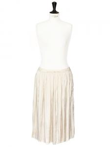 Jupe longueur midi taille basse en satin de soie beige champagne Px boutique 900€ Taille 36/38