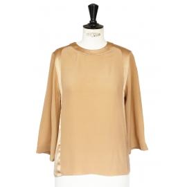 Blouse col rond manches 3/4 en soie beige sable NEUVE Px boutique 650€ Taille 34 à 36