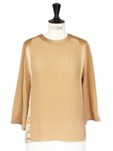 Sand beige silk crew neck blouse NEW Retail price €650 Size 34