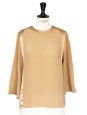 Blouse col rond manches 3/4 en soie beige sable NEUVE Px boutique 650€ Taille 34 à 36