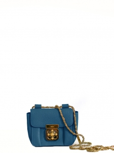 Electric blue grained leather mini ELSIE cross body bag Retail price €850