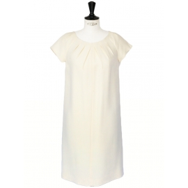 Off white silk and wool pleated crew neck Couture dress NEW Retail price €1600 Size 38