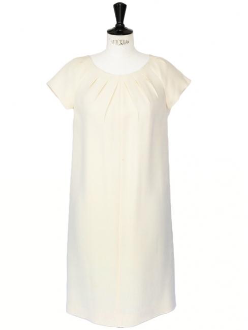 Robe en laine blanc casse
