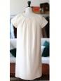 Robe Couture col rond à plissés en soie et laine blanc cassé NEUVE Px boutique 1600€ Taille 38