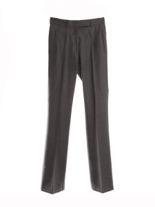 Pantalon droit à pli en laine et soie gris foncé Px boutique 550€ Taille 34