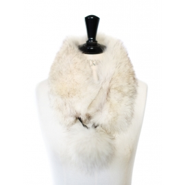 White and grey fur scarf collar with tassels