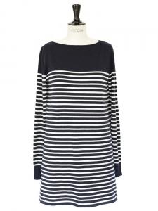 Robe marinière ILONA en soie et cachemire bleu marine blanc Px boutique 650€ Taille 38