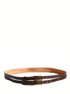 Ceinture fine double en python verni brun Px boutique 450€ Taille S