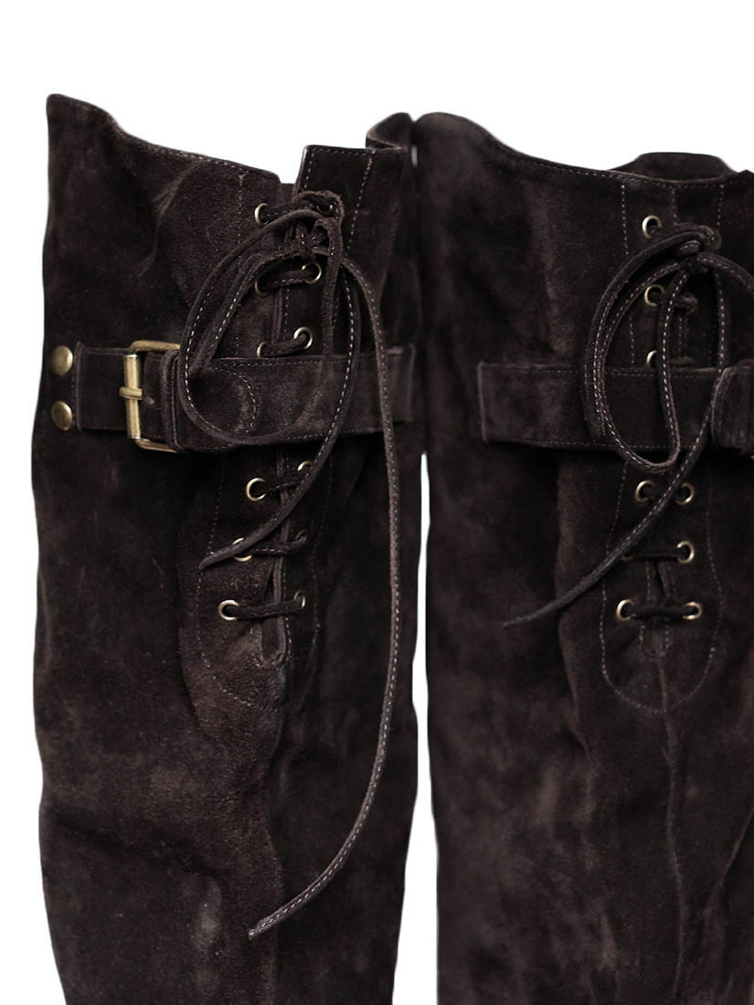 louise chocolate brown suede the knee
