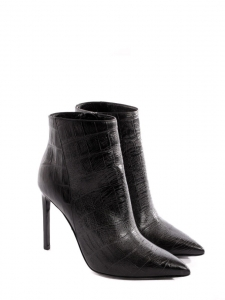 Bottines stiletto bout pointu en cuir imprimé croco noir NEUVES Px boutique 1100€ Taille 37,5