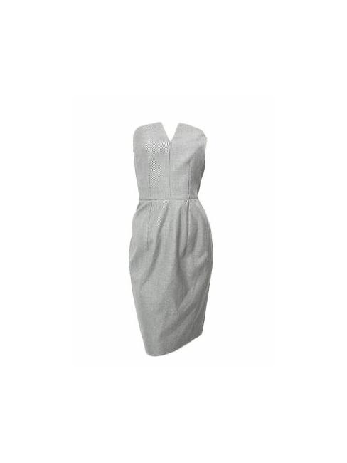 Robe de cocktail bustier en soie et fine laine grise Px boutique 2300€  Taille 36 461a8536d99