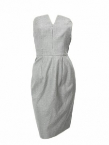 Light grey virgin wool and silk strapless cocktail dress Retail price €2300 Size 36