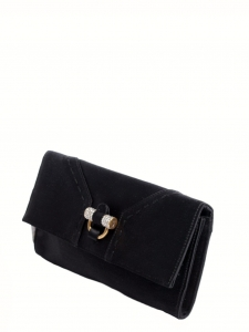 Black silk satin clutch bag with gold and crystals embellished lock Retail price €1000