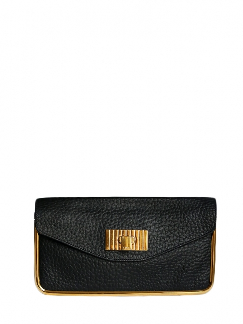 SALLY Deep black grained leather clutch bag with gold brass lock Retail price €850