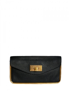 Deep black grained leather clutch bag with gold brass lock Retail price 850€