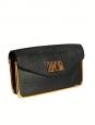 Sac pochette du soir clutch SALLY en cuir grainé noir et fermoir doré Px boutique 850€