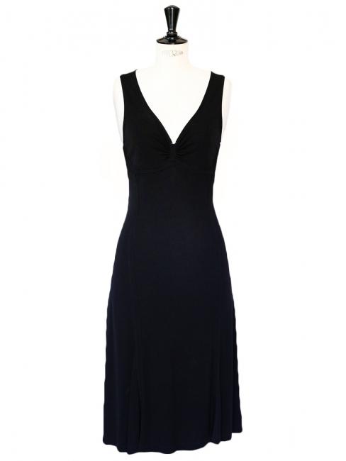Black jersey deep décolleté mid-length Cocktail dress Retail price €1100 Size 36