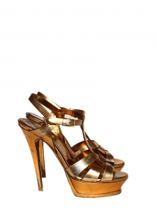Metallic copper gold leather TRIBUTE stiletto sandals Retail price €650 Size 38,5