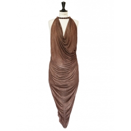 Chocolate brown jersey rope necklace décolleté sleeveless dress Retail price €1850 Size 36