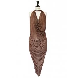 Robe de cocktail mi-longue collier tressé décolleté en jersey drapé marron cacao Px boutique 1850€ Taille 36