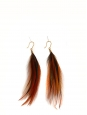 Nut brown, black and iridescent dark green long feathers pierced earrings