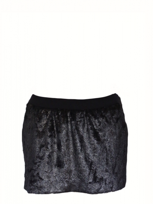 CYGNE Iridescent black faux fur mini skirt Size 36