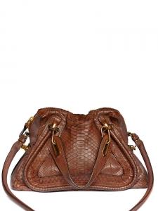 PARATY Medium cognac brown python snakeskin leather shoulder bag Retail price €3300