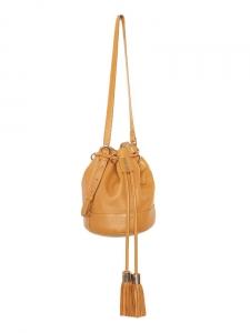 Sac seau VICKY en cuir camel et pompons NEUF Px boutique 355€