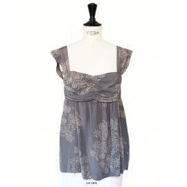 Bora dark grey printed silk décolleté top with large straps Size XS/S