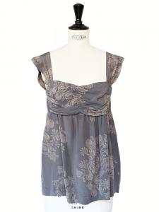 Bora dark grey printed silk décolleté top with large straps Size XS/S