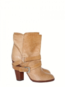Biker ankle boots in camel beige leather Retail price €600 Size 36