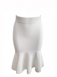 Cream white jersey mermaid bandage skirt Retail price €950 Size 34