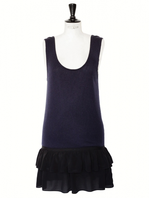 Midnight blue virgin wool and black silk chiffon sleeveless dress Retail price €250 Size 36
