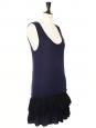Robe charleston à bretelles larges en laine vierge bleu nuit et mousseline de soie noire Px boutique 250€ Taille 36