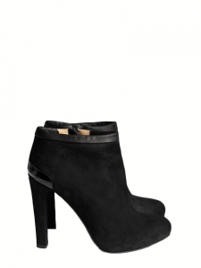 Black suede heeled ankle boots Retail price €650 Size 37