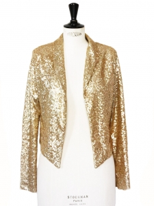 Blazer jacket embroidered with gold sequins Size 34