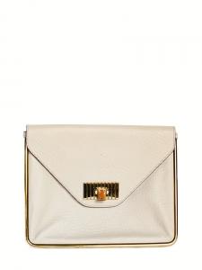 SALLY pink beige textured leather envelop clutch bag NEW Retail price €960