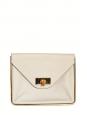 Pochette enveloppe clutch large SALLY en cuir grainé beige rosé et fermoir doré NEUF Px boutique 960€