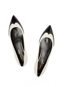 Ballerines plates PARIS en cuir verni blanc et noir Px boutique 550€ Taille 35