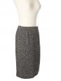Jupe droite taille haute en tweed de laine vierge noir et blanc Px boutique 200€ Taille 38