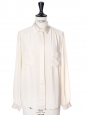 GABY Cream satin and crepe silk long sleeves shirt Retail price €700 Size 36