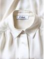 Chemise GABY manches longues en satin et crêpe de soie crème Px boutique 700€ Taille 36