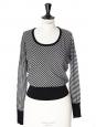 Pull fin manches longues col rond en laine fine douce rayée noir et blanc Px boutique 600€ Taille 34